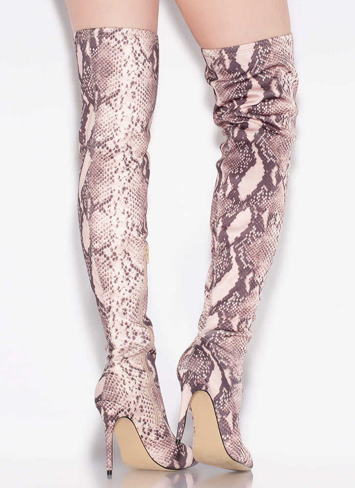 Point It Out Thigh-High Snake Boots SNAKE