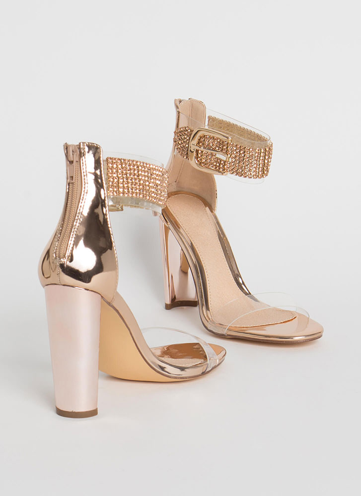 Notch On My Belt Clear Jeweled Heels ROSEGOLD
