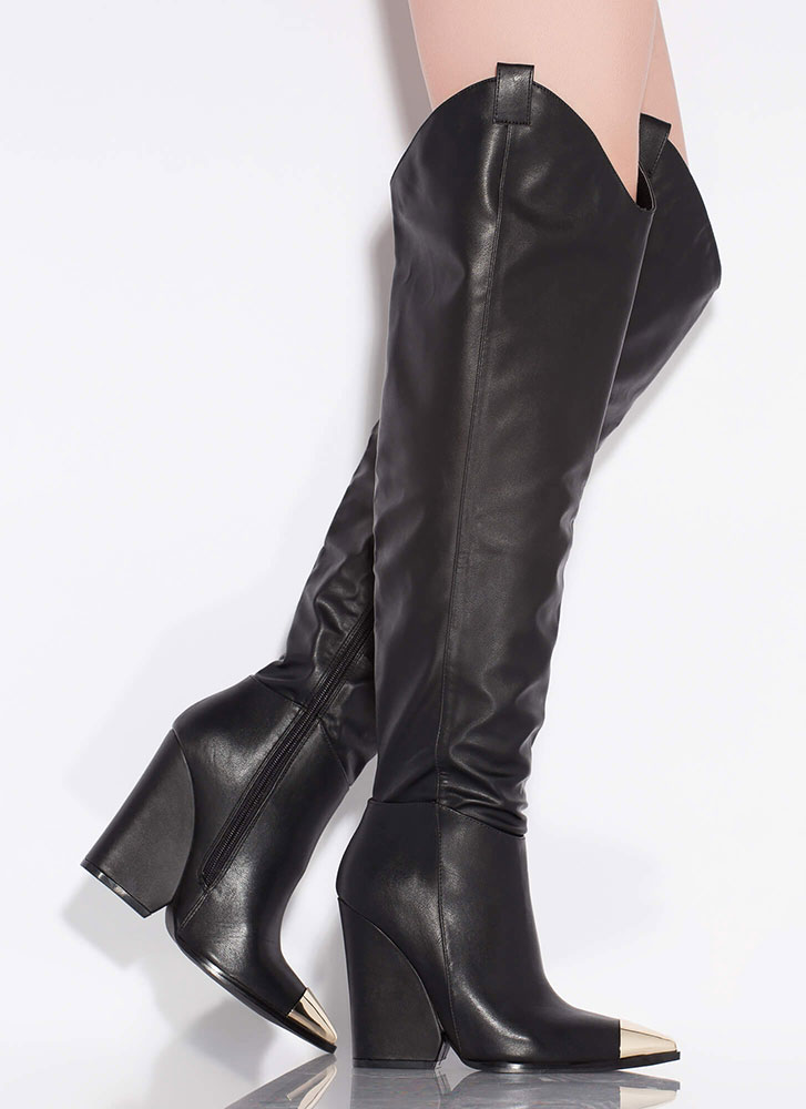 Lasso Cap-Toe Thigh-High Wedge Boots BLACK