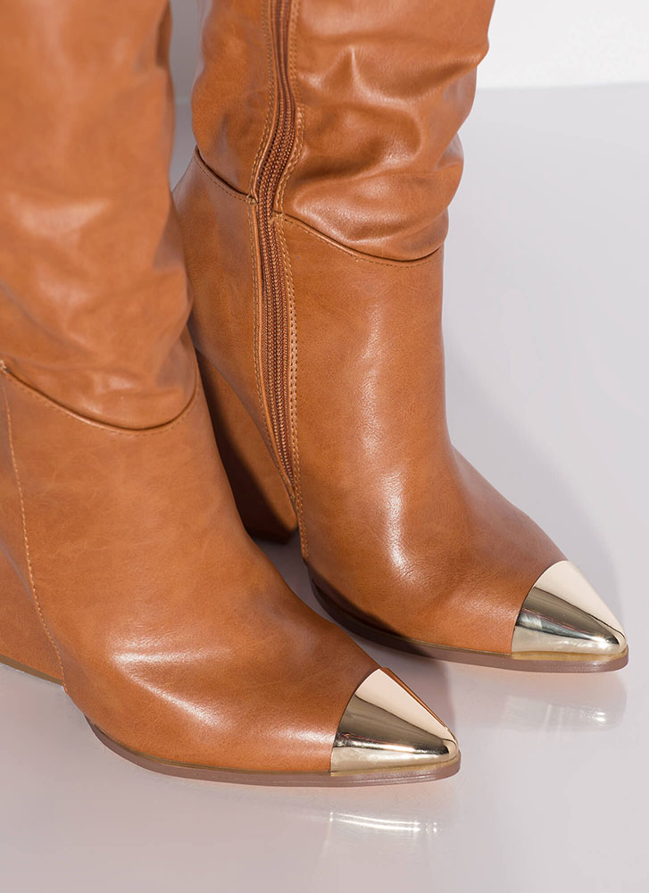 Lasso Cap-Toe Thigh-High Wedge Boots TAN
