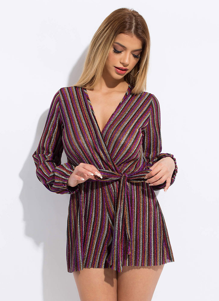 Stripe Party Sparkly Tied Romper PURPLE