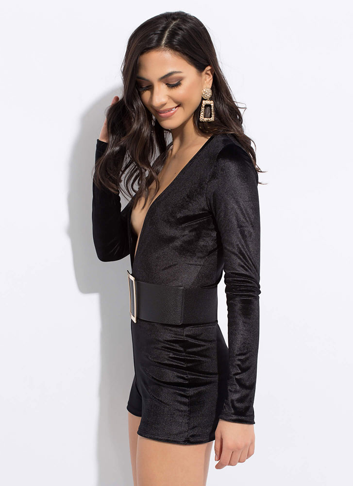 Low And Behold Plunging Velvet Romper BLACK