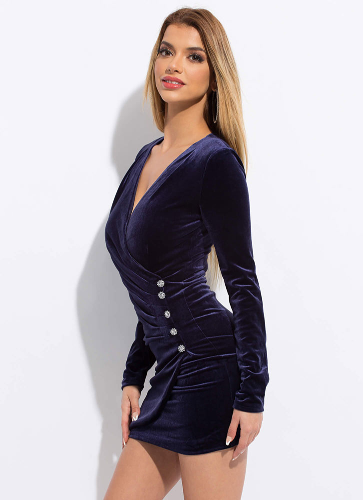 Wrapped In Velvet Jewel Accent Minidress BLUE