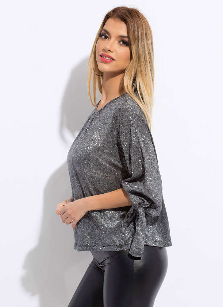 Gleam Come True Sparkly Tied Blouse BLACK