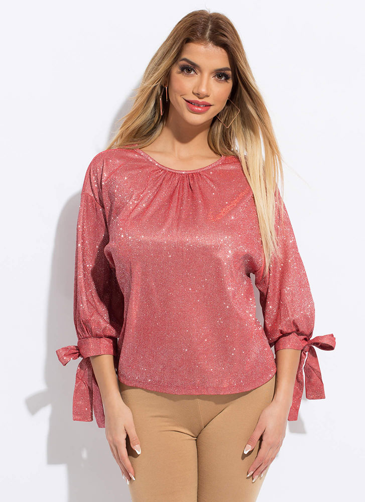 Gleam Come True Sparkly Tied Blouse RED