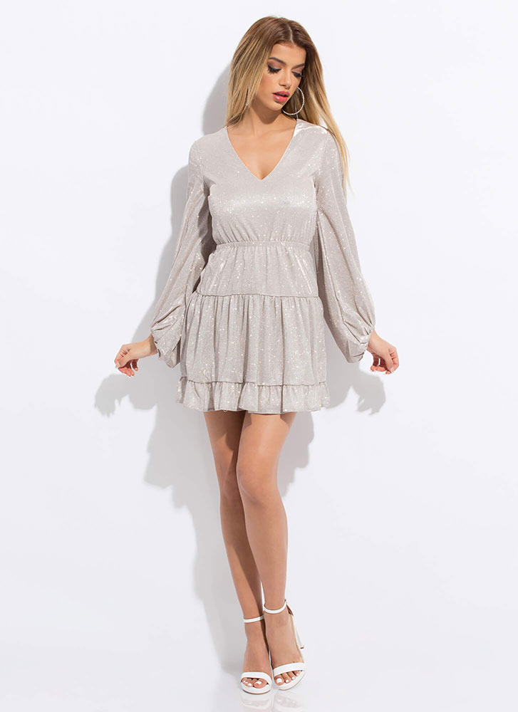 Ruffle Party Sparkly Tiered Minidress SILVER