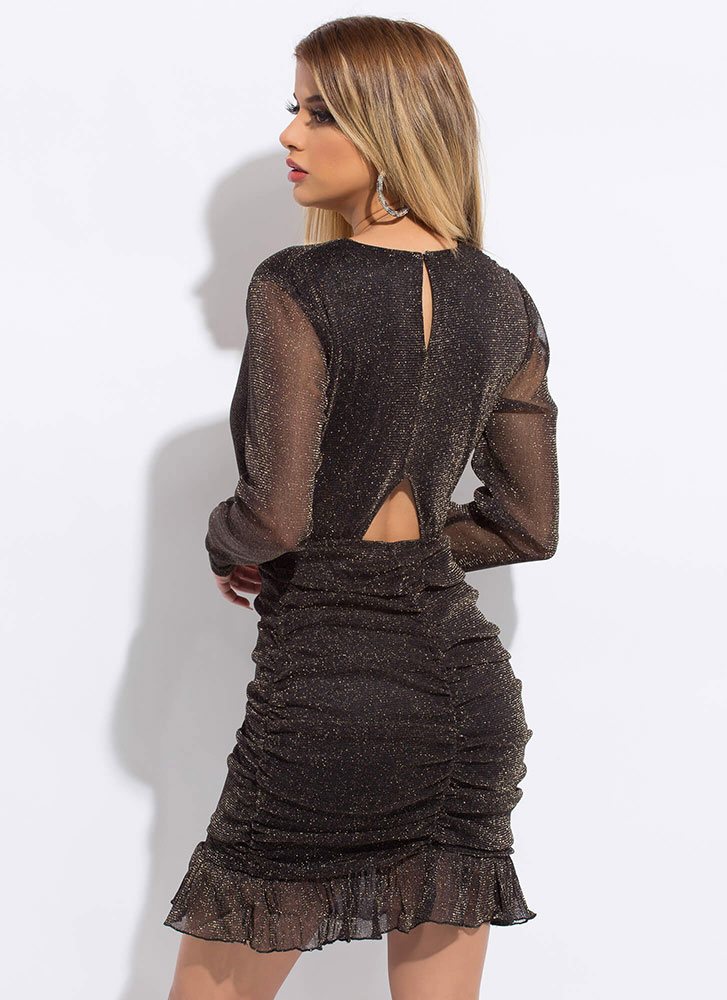 Sparkles Will Fly Ruffled Ruched Dress BLACK
