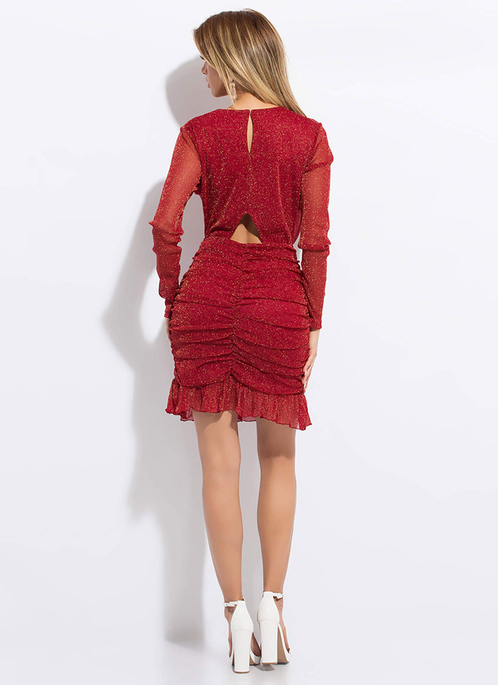Sparkles Will Fly Ruffled Ruched Dress RED