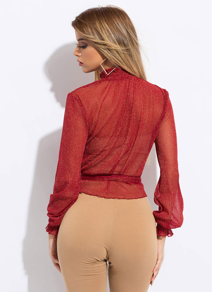Specks Appeal Sparkly Sheer Tied Blouse RED