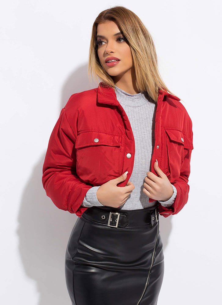 Snap To Attention Cropped Puffy Jacket RED