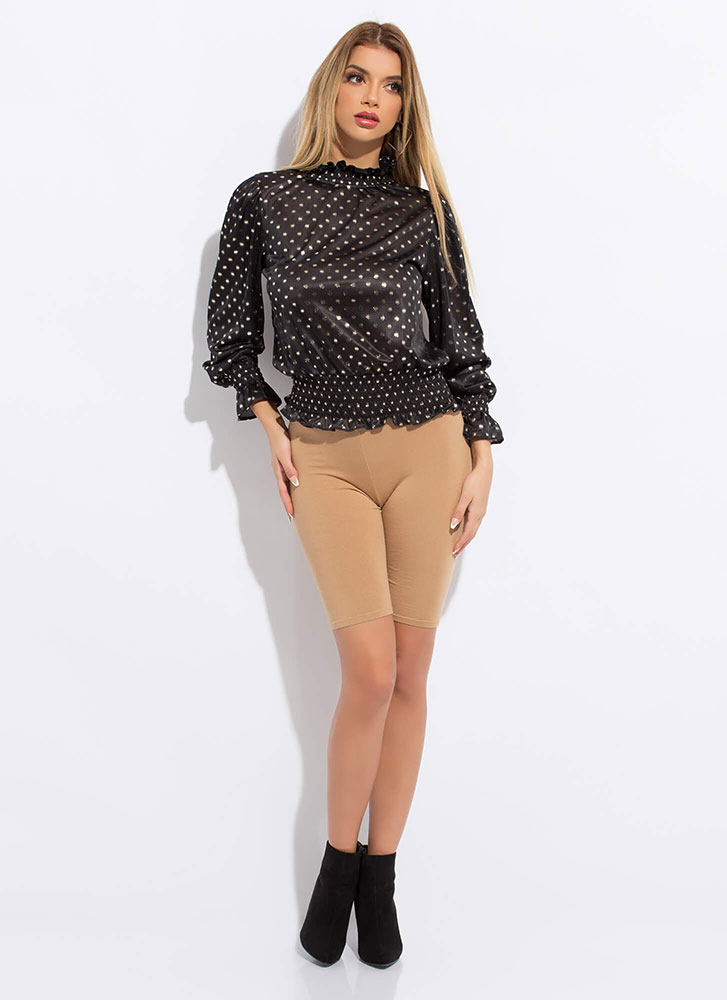 The Perfect Spot Frilly Polka Dot Blouse BLACK