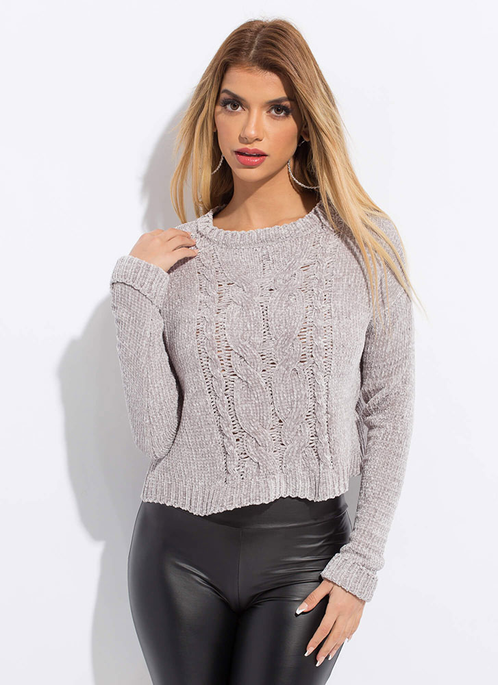 The Soft Life Cable Knit Sweater GREY