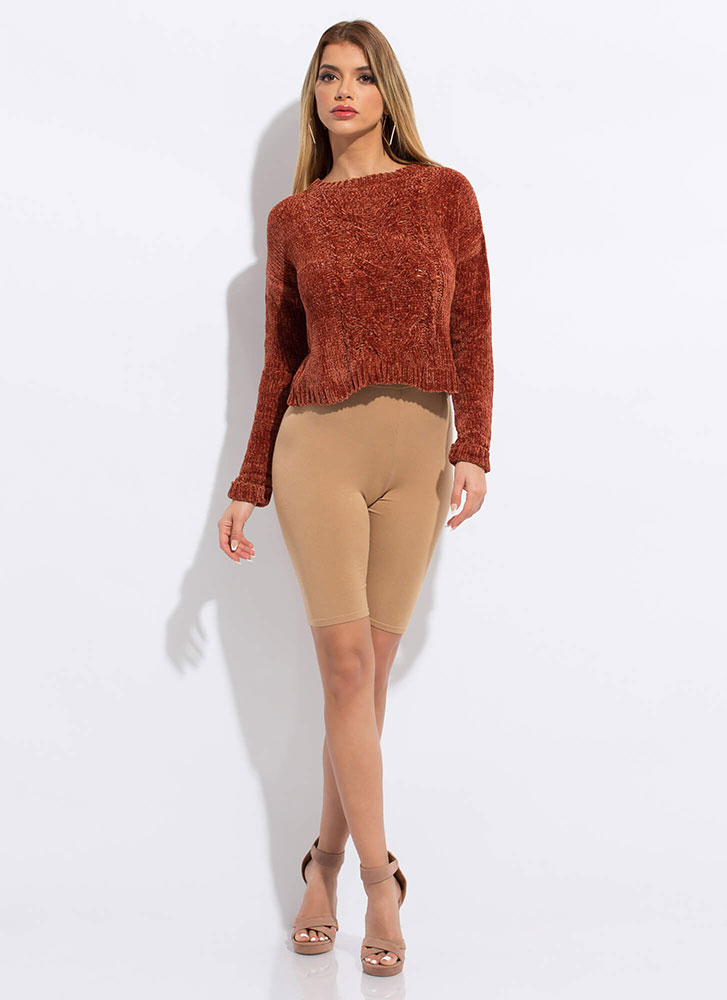 The Soft Life Cable Knit Sweater RUST