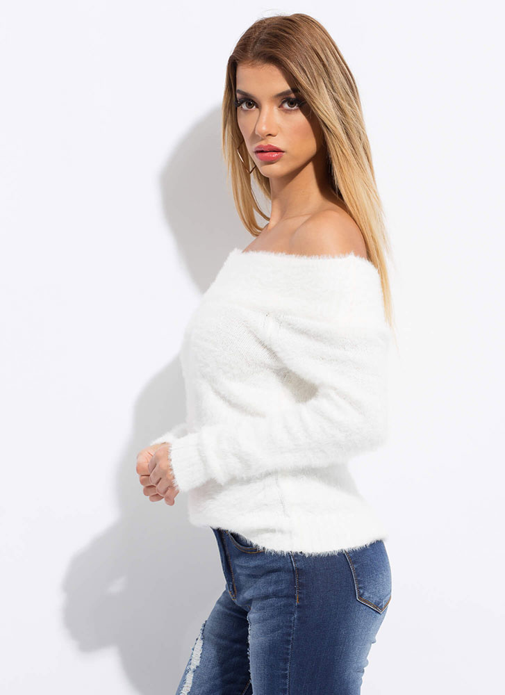 Fuzzy Vision Knit Off-Shoulder Sweater IVORY