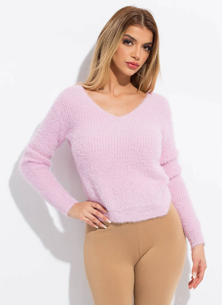 Knot Coming Back Fuzzy Cropped Sweater PINK