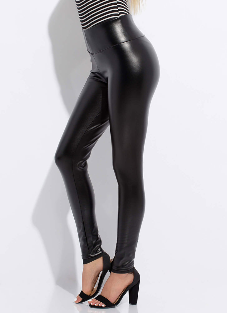 Keep My Cool Faux Leather Skinny Pants BLACK