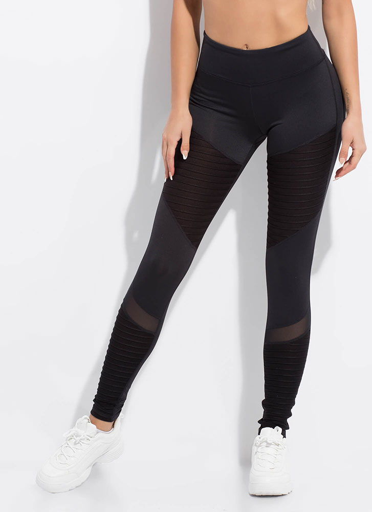 Stay Sporty Mesh Contrast Leggings BLACK