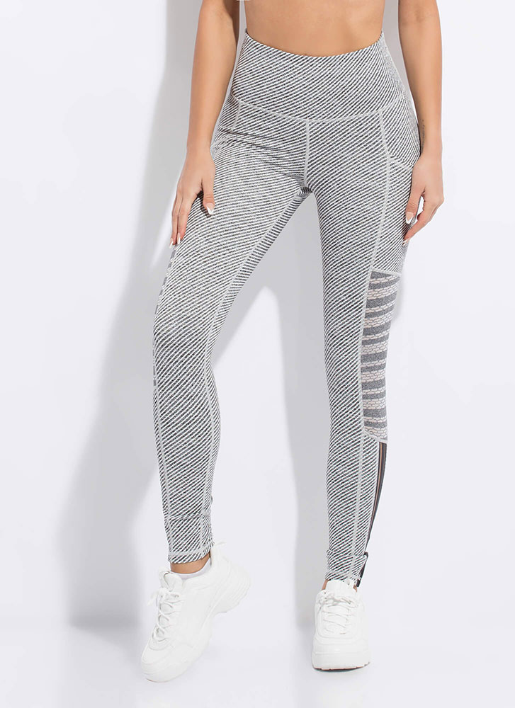 Striped And Sporty Mesh Inset Leggings GREY