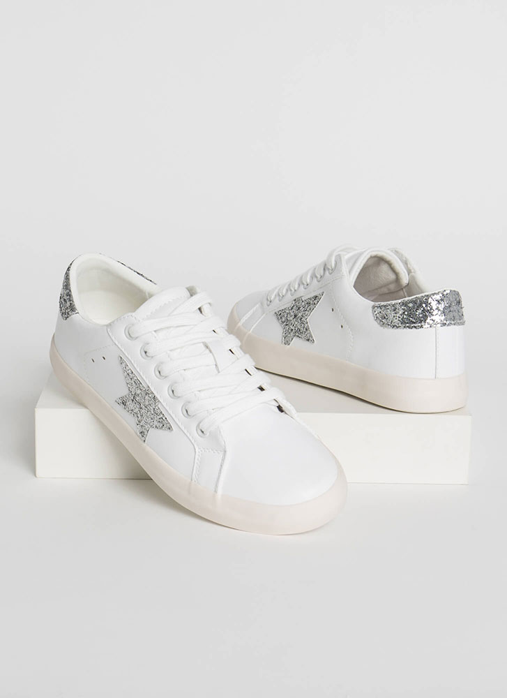 Fashion Star Glittery Platform Sneakers WHITESLV