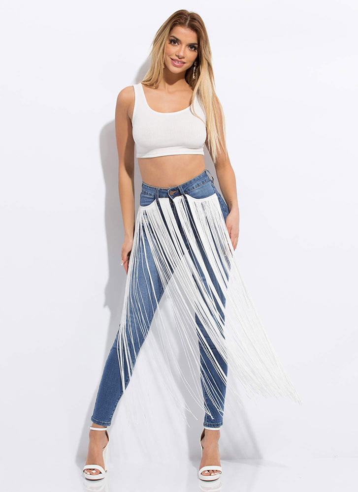 Motion Activated Waterfall Fringe Jeans MEDBLUE