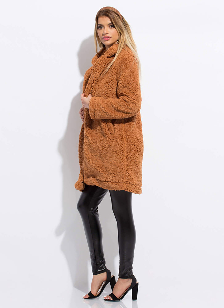 Let's Furry Up Faux Shearling Coat CINNAMON