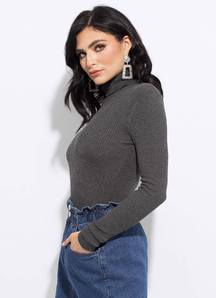 The Classic Rib Knit Turtleneck Top CHARCOAL