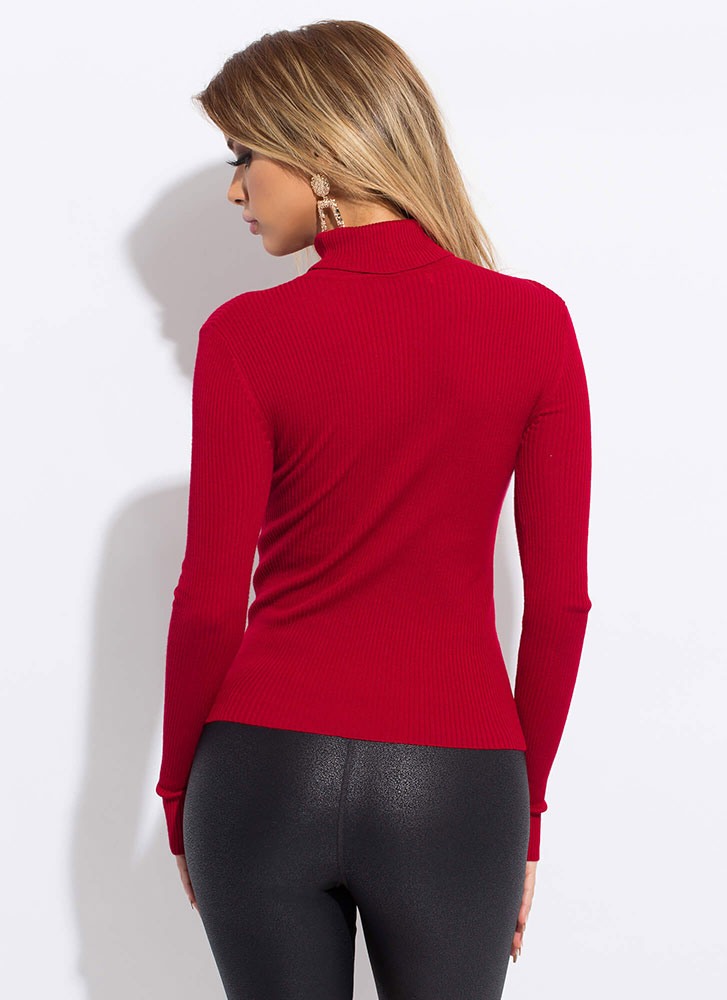 The Classic Rib Knit Turtleneck Top RED
