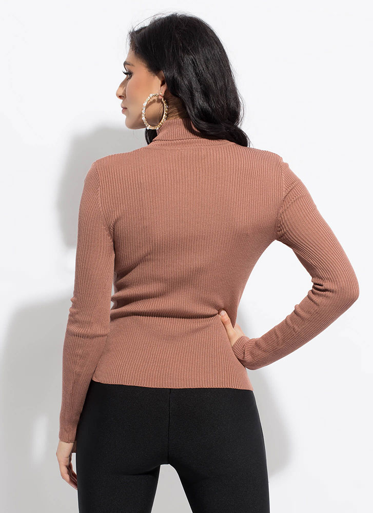 The Classic Rib Knit Turtleneck Top ROSE