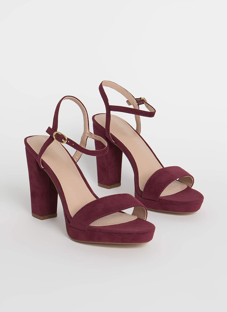 Every Time Chunky Faux Suede Heels BURGUNDY