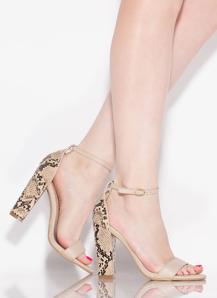 Heeling Touch Chunky Faux Snake Heels NUDE