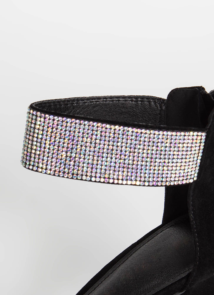 Get Sparkly Chunky Jewel Cuff Heels BLACK (Final Sale)