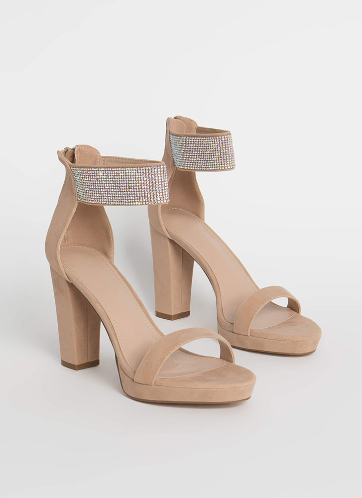Get Sparkly Chunky Jewel Cuff Heels TAUPE