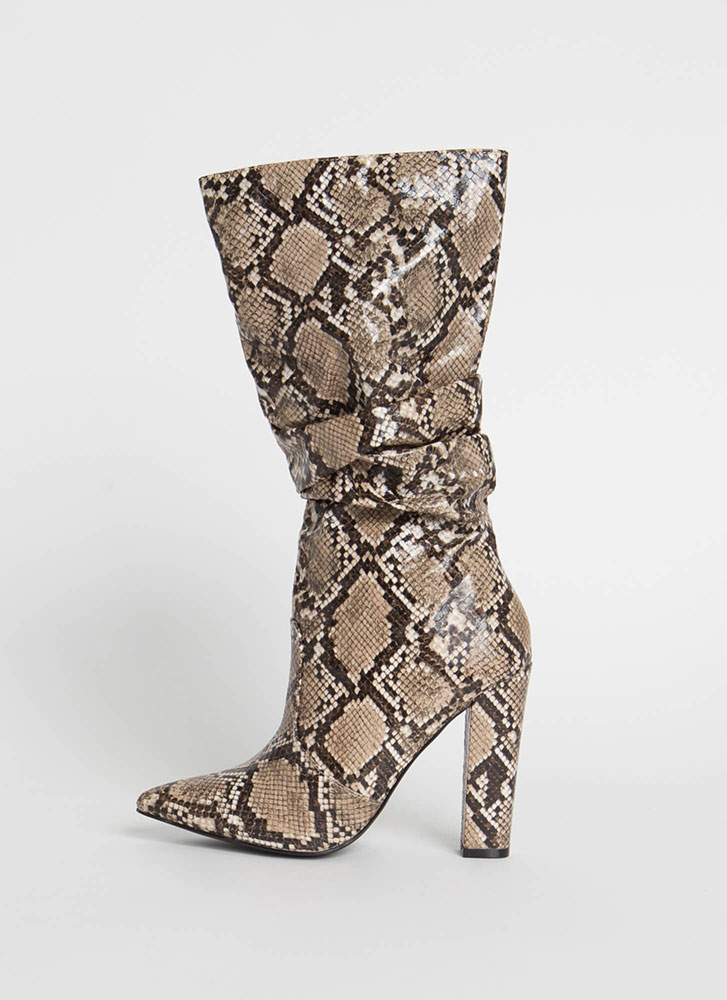 It's A Must Slouchy Faux Snake Boots SNAKE