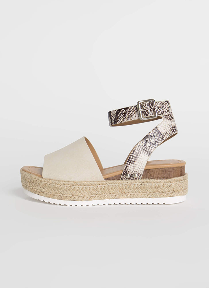 Vacation Time Snake Strap Wedge Sandals BEIGE