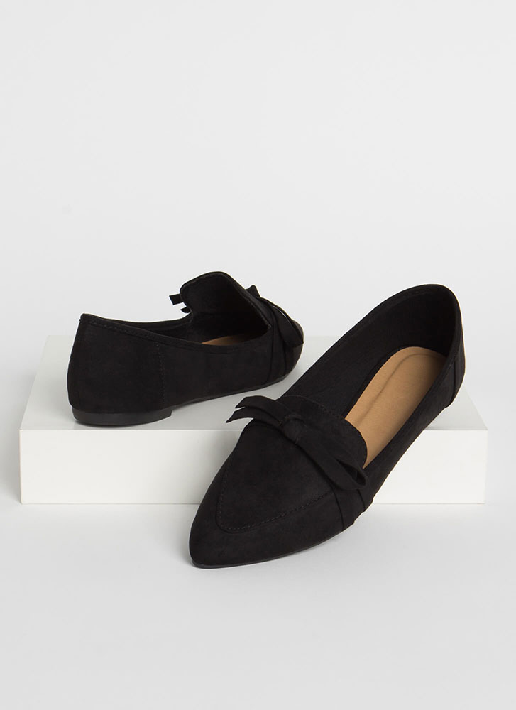 Ready Or Knot Bow Strap Loafer Flats BLACK