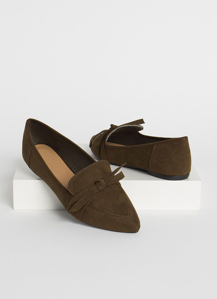 Ready Or Knot Bow Strap Loafer Flats OLIVE