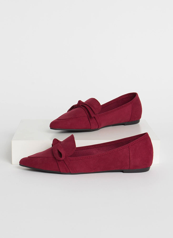 Ready Or Knot Bow Strap Loafer Flats WINE