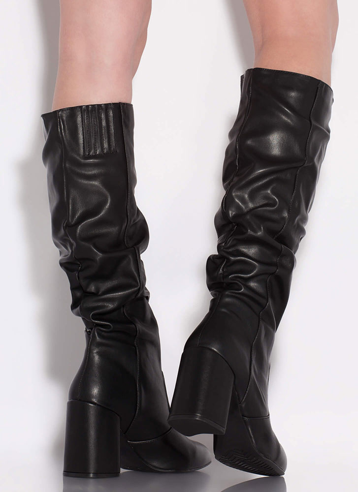 Bestie Chunky Slouchy Knee-High Boots BLACK