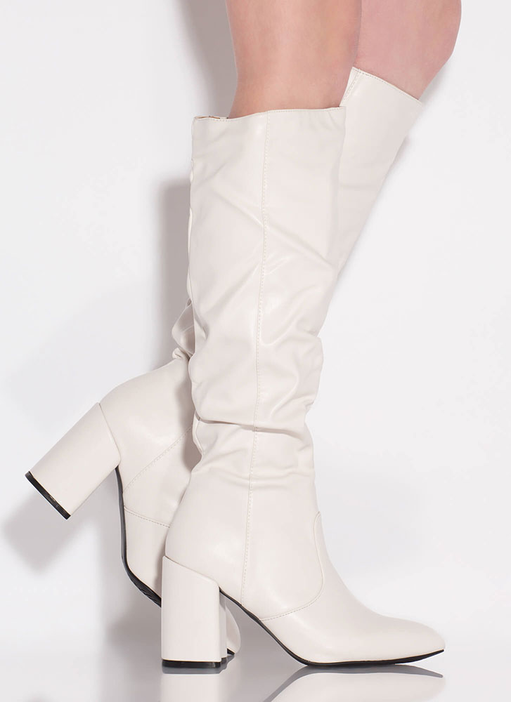 Bestie Chunky Slouchy Knee-High Boots OFFWHITE