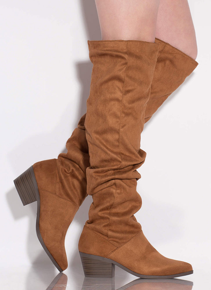 Trend Spotter Slouchy Knee-High Boots CAMEL