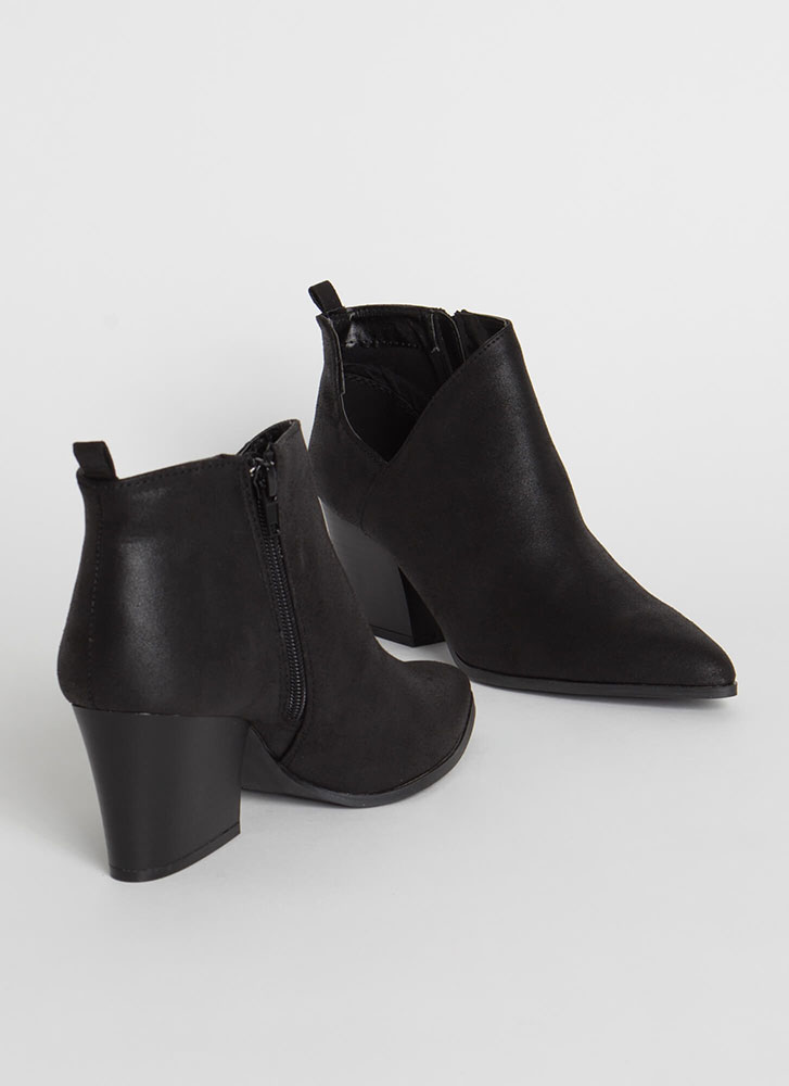 By My Side Cut-Out Faux Leather Booties BLACK
