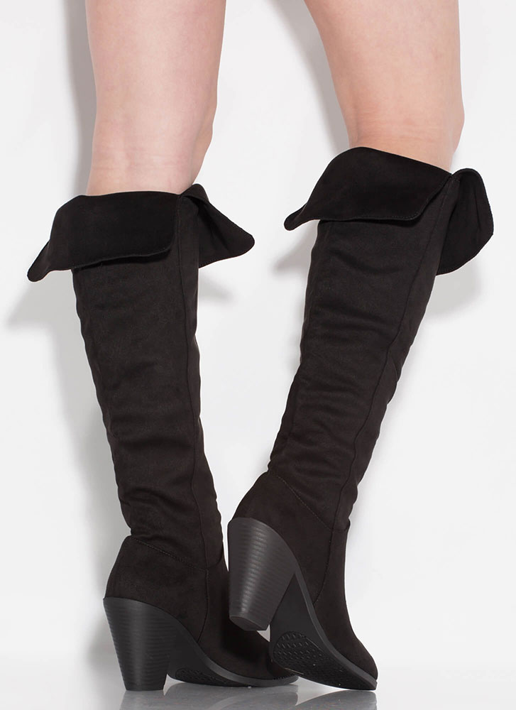 Slit Happens Chunky Over-The-Knee Boots BLACK