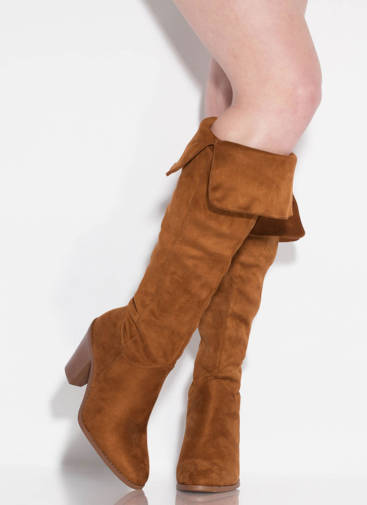Slit Happens Chunky Over-The-Knee Boots CHESTNUT
