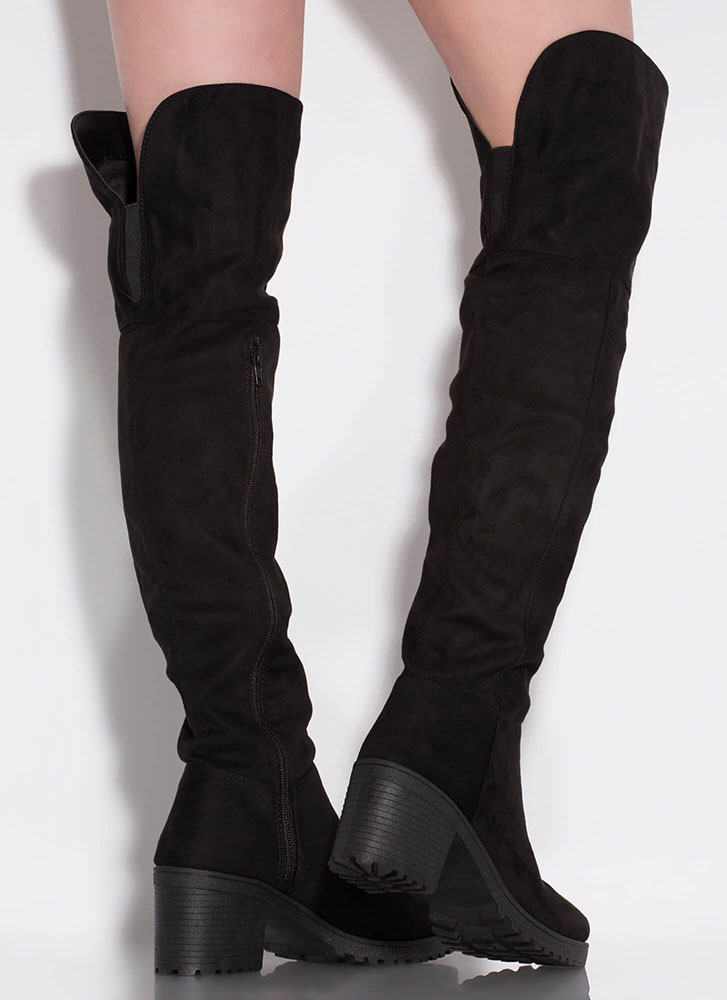 One True Lug Block Heel Thigh-High Boots BLACK