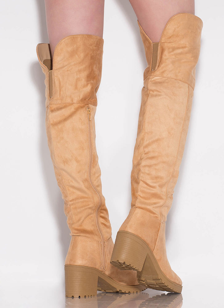 One True Lug Block Heel Thigh-High Boots TOFFEE