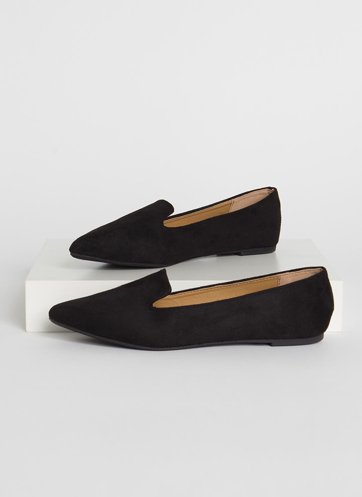 On The Move Faux Suede Smoking Flats BLACK