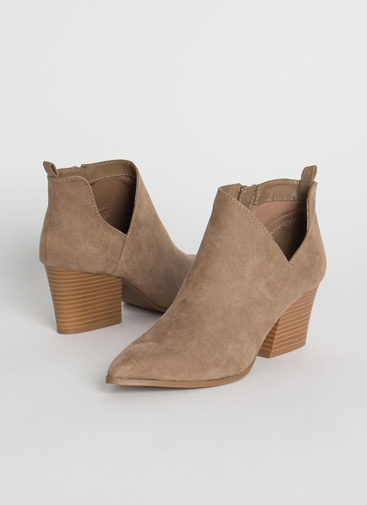 By My Side Cut-Out Faux Suede Booties TAUPE