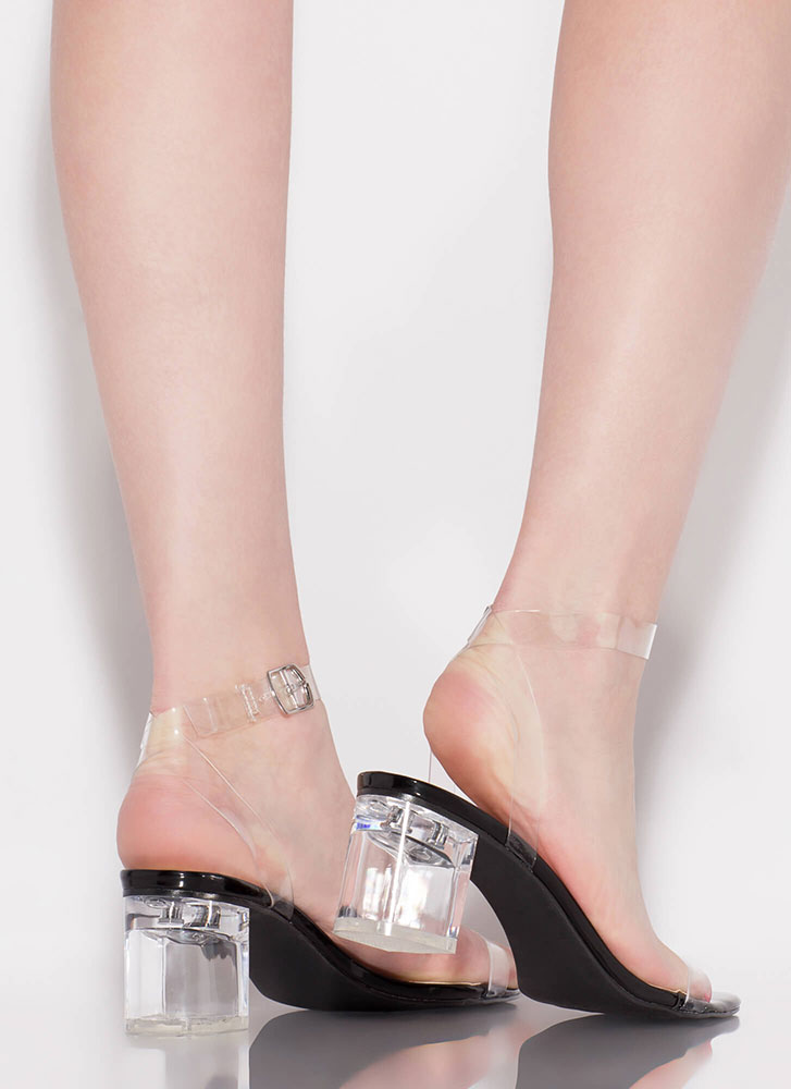 Clear Contender Lucite Block Heels BLACK