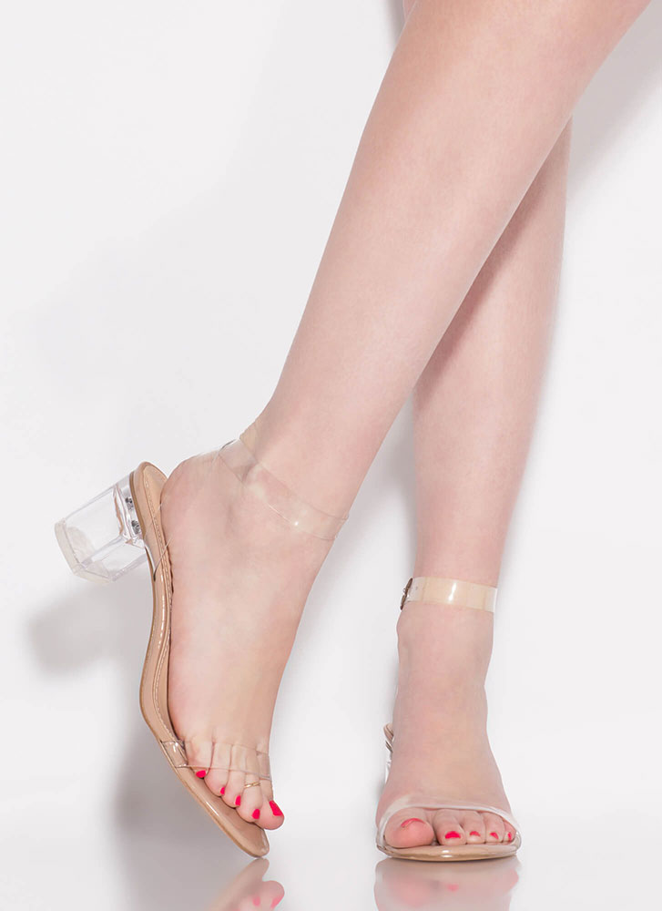 Clear Contender Lucite Block Heels NATURAL
