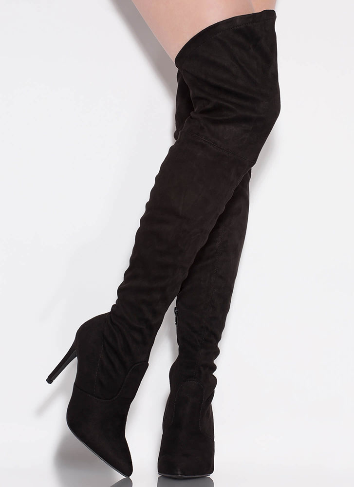 High-Low Importance Thigh-High Boots BLACK